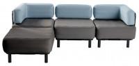 3 Sitzer mit Hocker - Dark Grey / Oceana Blue