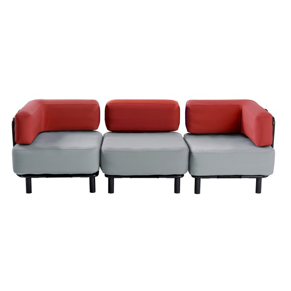 3 Sitzer - Light Grey / Bright Red