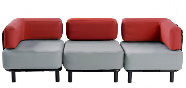 3 Sitzer - Light Grey / Bright Red